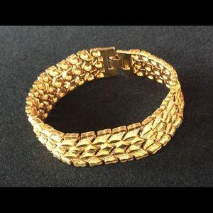 Stunning Sleek Wide 14k Gold Plated Bracelet.